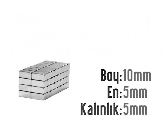Boy: 10mm - En: 5mm - Kalınlık: 5mm Neodyum Mıknatıs
