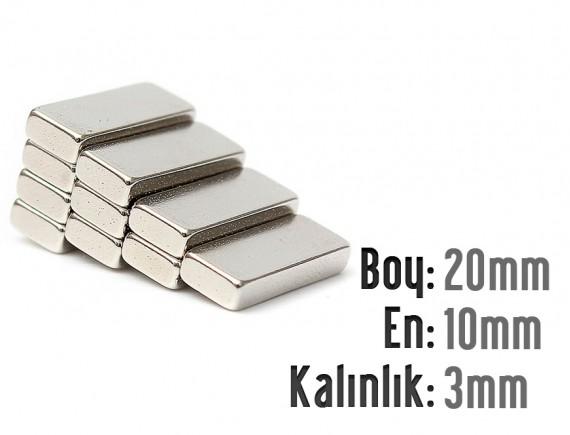 Boy: 20mm - En:10mm - Kalınlık: 3mm Neodyum Mıknatıs