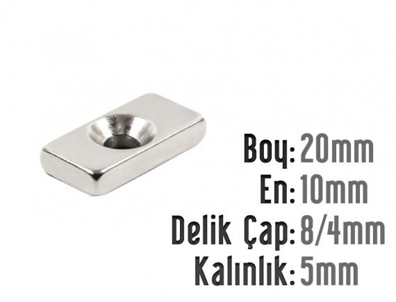 Boy: 20mm - En: 10mm - Delik Çap 8/4 Kalınlık: 5mm Havşalı Neodyum Mıknatıs