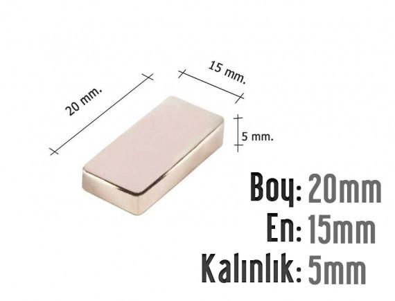 Boy: 20mm - En: 15mm - Kalınlık: 5mm Neodyum Mıknatıs