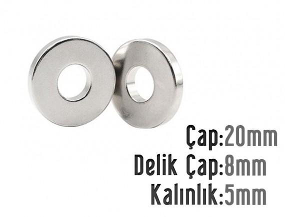 Çap 20mm X Del.Çapı 8mm X Kalınlık 5mm HALKA Mıknatıs