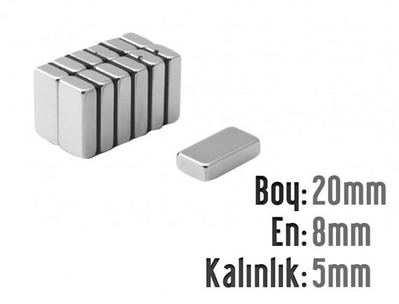 Boy: 20mm - En:8mm - Kalınlık: 5mm Neodyum Mıknatıs