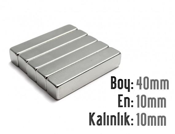 Boy: 40mm - En: 10mm - Kalınlık: 10mm Neodyum Mıknatıs