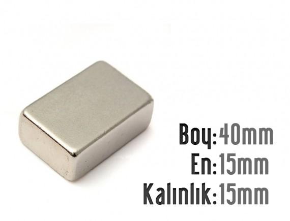 Boy: 40mm - En: 15mm - Kalınlık: 15mm Neodyum Mıknatıs