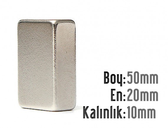 Boy: 50mm - En: 20mm - Kalınlık: 10mm Neodyum Mıknatıs