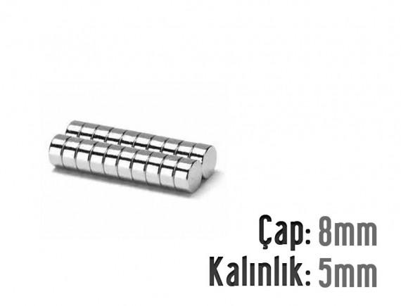 Çap: 8mm x Kalınlık: 5mm Neodyum Mıknatıs